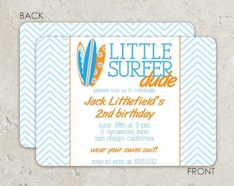 "surf board birthday invitation chevron  ""little surfer dude"""