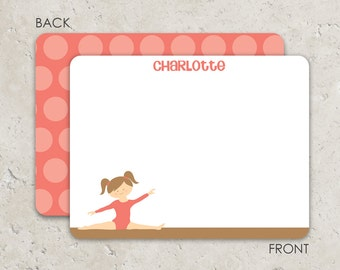 Gymnastics  Flat Notecards - Thank you notes - with coral polka dot background