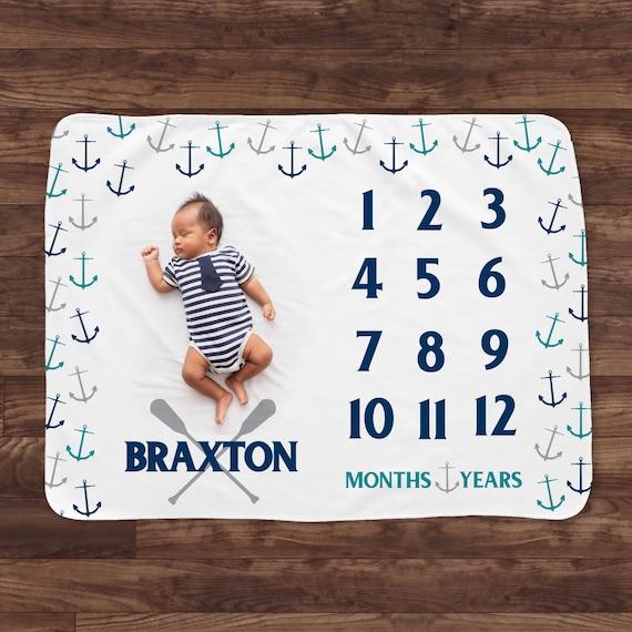 Custom made milestone blanket for baby year month blanket