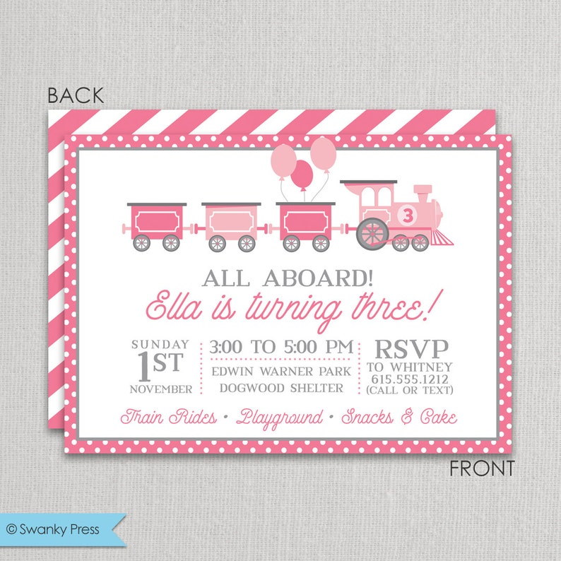 Train Birthday Party Invitation For Girls Pink And Grey Girl