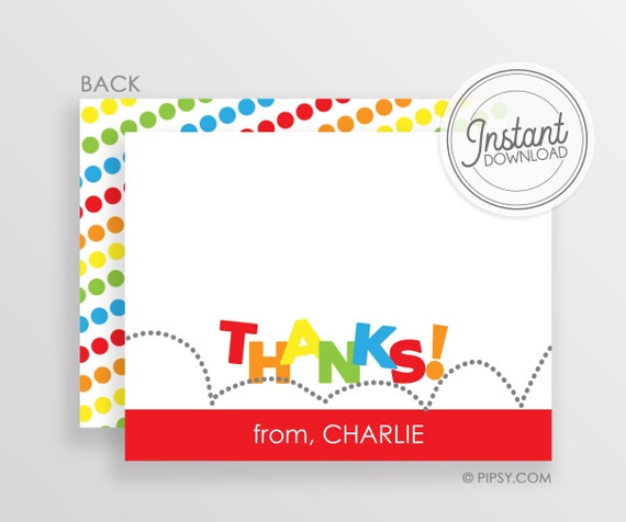 Thank You Note Red Orange For A Jump Or Bounce Birthday Etsy