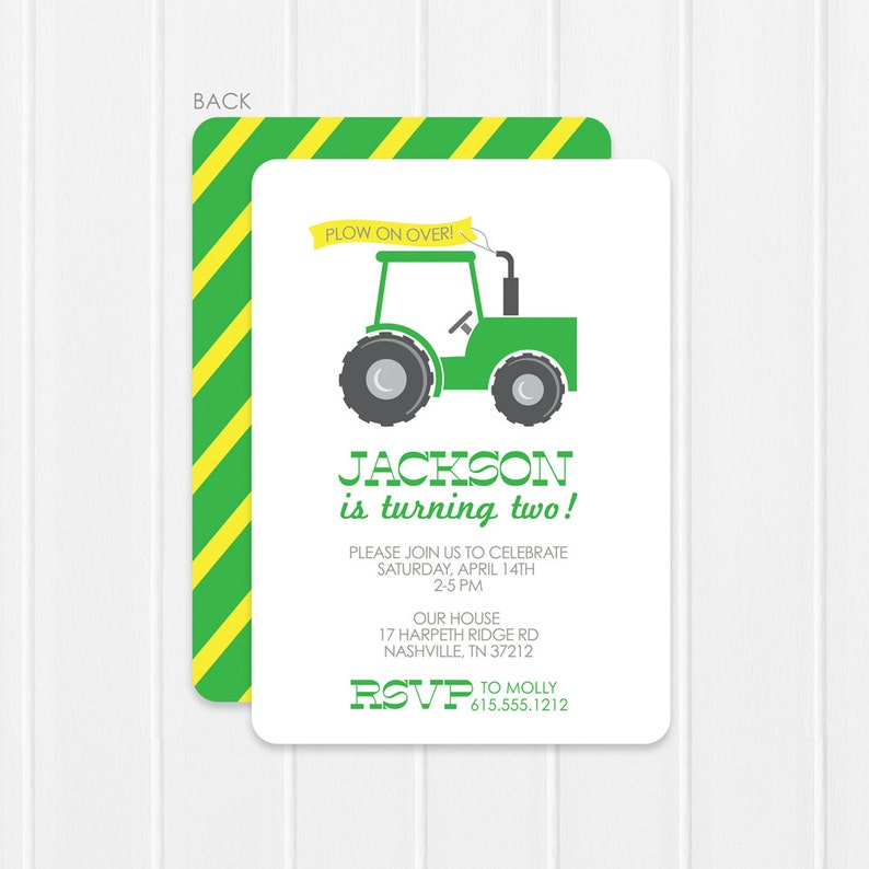 Tractor Or Farm Party Birthday Invitations Fun 2 Sided
