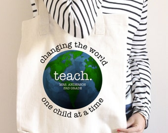 Teacher Tote Bag - Teacher Book Bag - Personalized - Teacher Gift - Change the World One Child At A Time