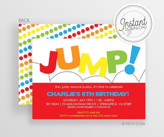 Jump Birthday Invitation