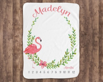 Baby Month Milestone Blanket- Flamingo- Watercolor - Girl - Personalized Baby Blanket - Track Growth and Age - New Mom Baby Shower Gift