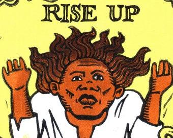 Rise Up -- original linoleum block print