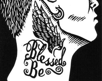 Blessed Be - original linoleum block print