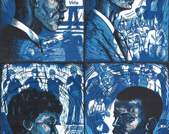 Set of Four Freedom Rider Portraits -- original linoleum block prints