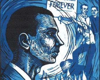 Peter Stoner, Freedom Rider -- original linoleum block print