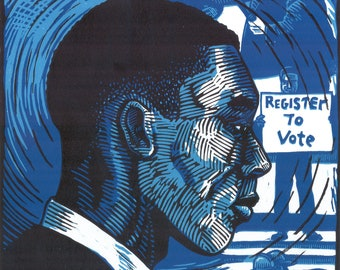 Hank Thomas, Freedom Rider -- original 3-color linoleum block print
