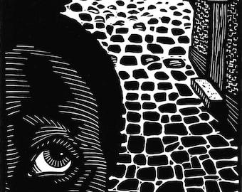 Behind You! - original linoleum block print