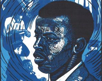 John Lewis, Freedom Rider -- original linoleum block print