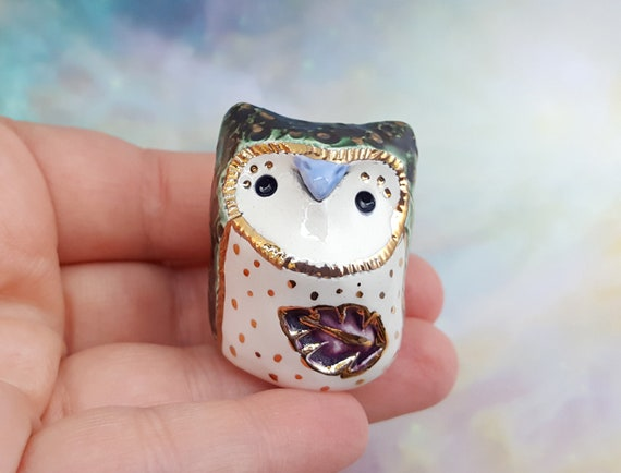 Green Owl with Gold Luster Accents