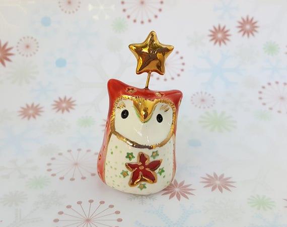 Red Ceramic Owl with Poinsettia Design