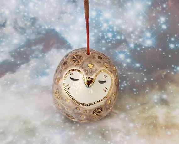 Ceramic Incense Holder Grey Owl with Gold Luster