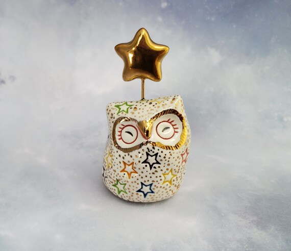 White and Gold Owl Ceramic Figurine with Stars
