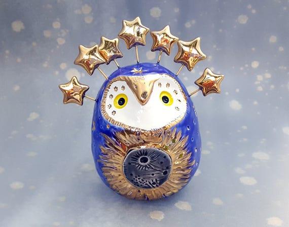 Eclipse Owl Blue Ceramic Sculpture with Gold Stars