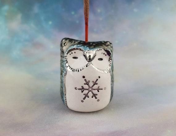 Snowflake Owl Miniature Ceramic Incense Holder