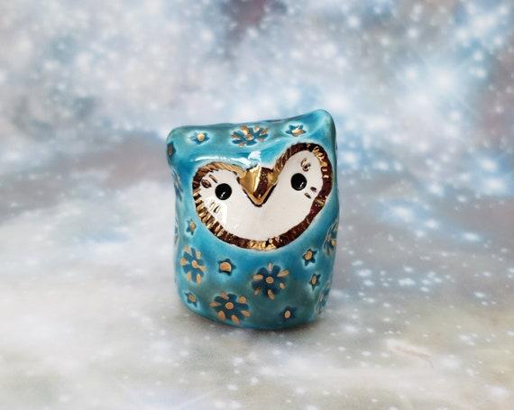 Ceramic Owl Blue and Gold