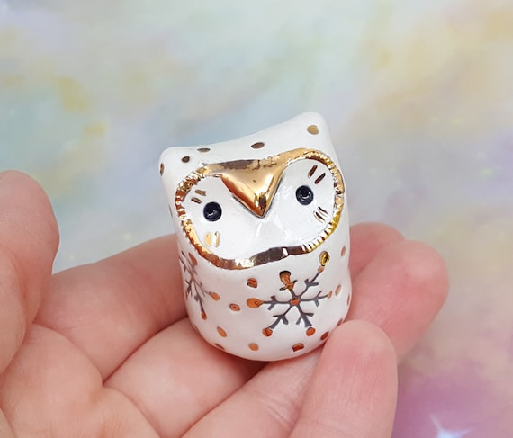 Ceramic Owl Sculpture White Grey and Gold