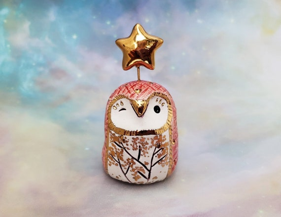 Red Owl Sculpture with Gold Luster