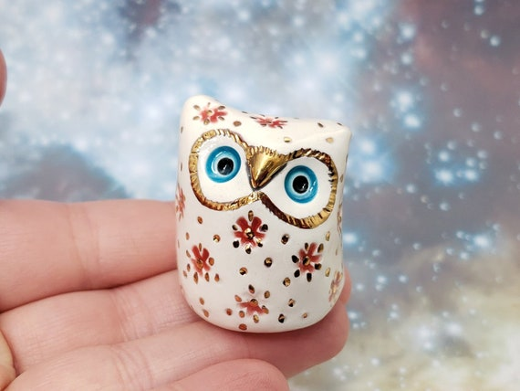 White Owl Ceramic Sculpture with Red Flowers