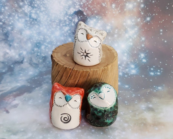 Three Ceramic Owls Red Green and Gray Gift Wrapped