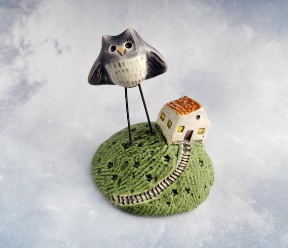 Ceramic House and Owl Figurine Sculpture