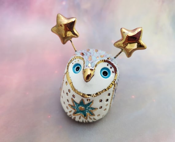 Blue Owl Sculpture with Gold Luster