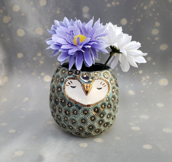 Ceramic Owl Vase Green with Gold Luster