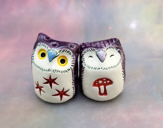Ceramic Owls with Purple and Red