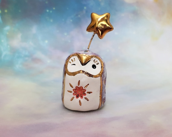 Winking Purple Owl with Gold Luster