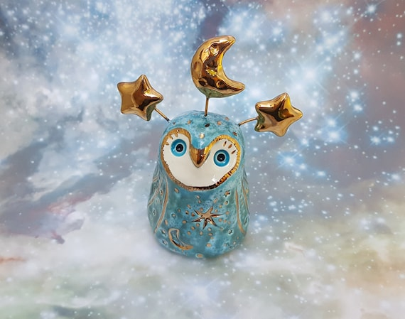 Blue Owl Sculpture with Gold Moon and Stars