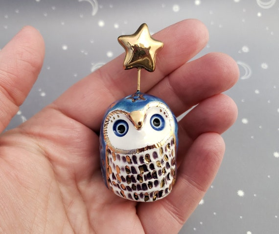 Blue and Gold Owl Ceramic Figurine with Stars