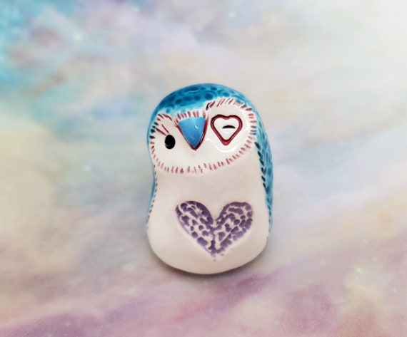 Ceramic Owl Blue with Lavender Heart