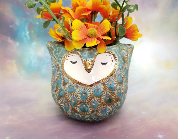 Ceramic Owl Vase with Gold Luster