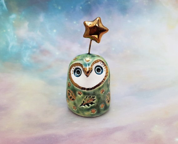 Green Owl Sculpture with Gold Luster Stars and Leaves