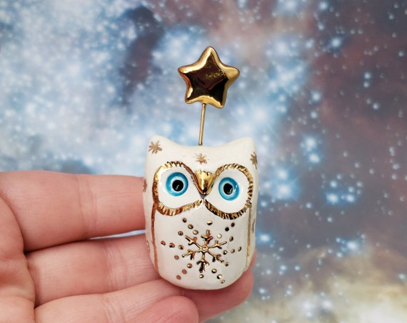 Fairy Owl with Gold Luster Snowflakes and Blue Eyes