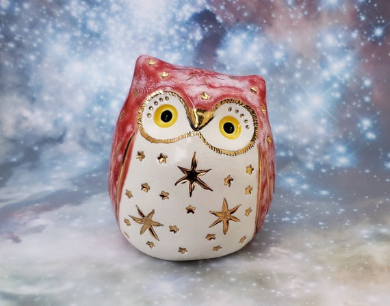 Red Owl Ceramic Sculpture with Bright Gold Stars