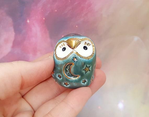 Miniature Green Owl Sculpture with Stars