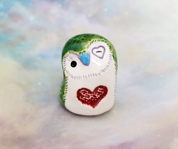 Ceramic Owl Green with Red Heart