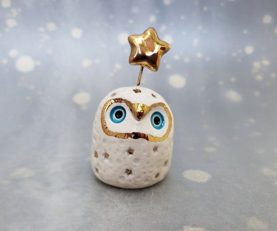 Fairy Owl with Gold Luster Stars and Blue Eyes