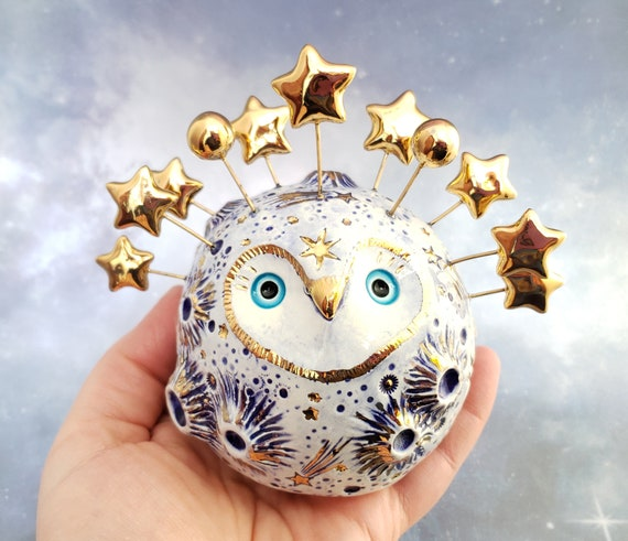 Blue Moon Owl Ceramic Sculpture with Gold Stars