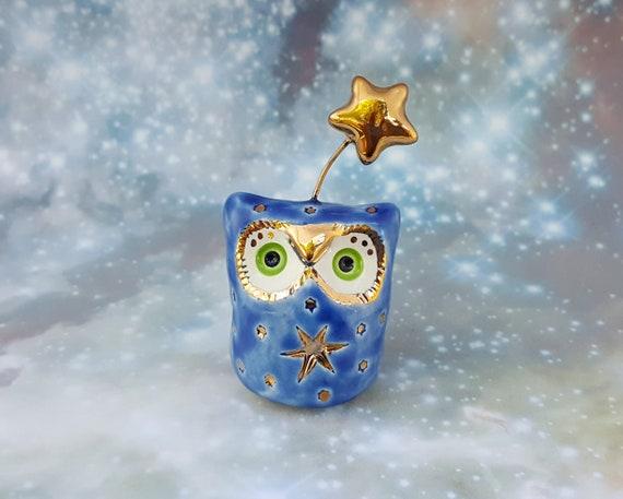 Owl Ceramic Sculpture Blue and Gold