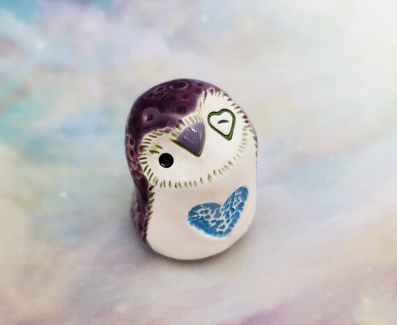 Purple Owl with Blue Heart