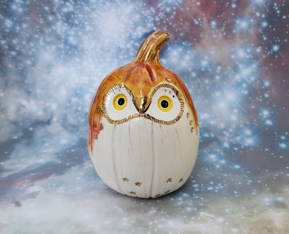 Pumpkin Owl Ceramic Sculpture with Bright Gold Stars