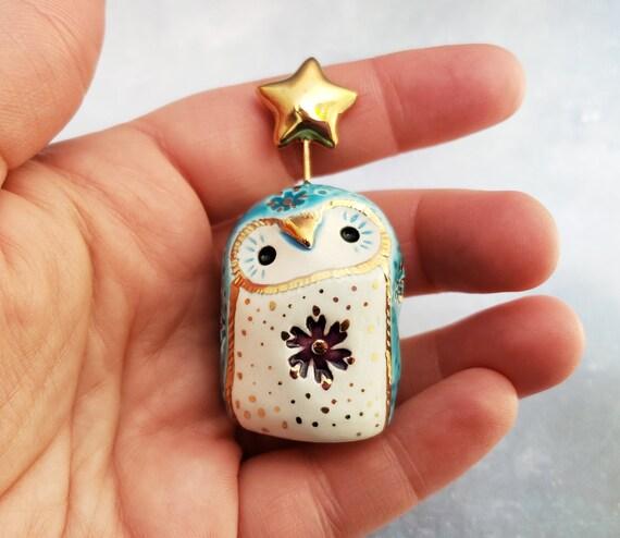 Blue Fairy Owl Ceramic Figurine with Purple Flower