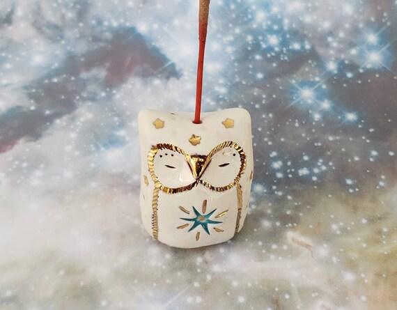 White Owl Miniature Ceramic Incense Holder
