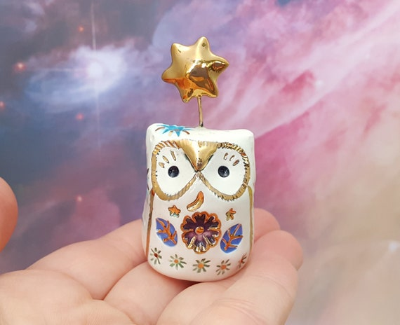 White Fairy Owl Ceramic Figurine with Blue Stars