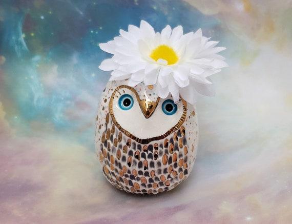 White Ceramic Owl Vase with Gold Luster